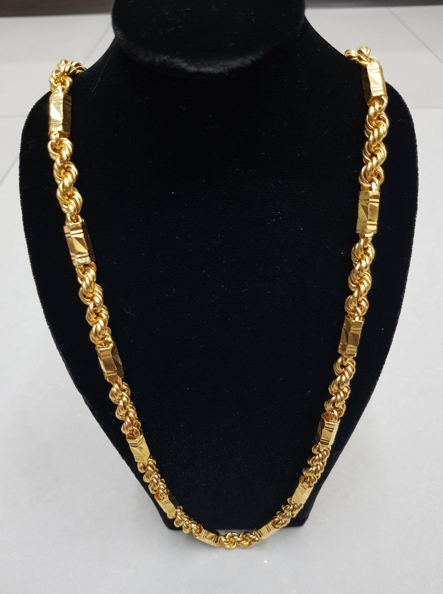 六角麻花黃金項鍊,難以掩蓋的華麗